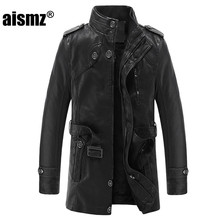 Aismz Warm Winter Mens PU Leather Jacket Casual Motorcycle Business Fashion Brand Thicken Long Male Outerwear Overcoat 008