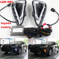 2x White Yellow Tube LED Daytime Day Fog Light DRL Run Lamp For Toyota Camry2014 2015