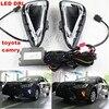 2x White Yellow Tube LED Daytime Day Fog Light DRL Run Lamp For Toyota Camry2014 2015