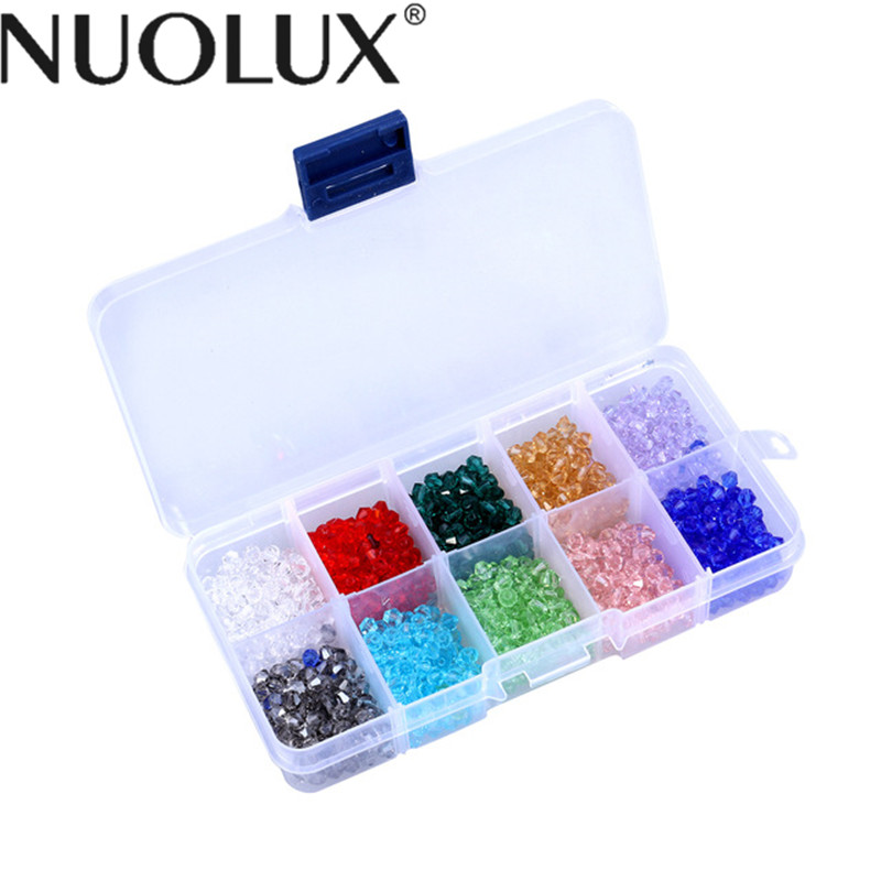 1000Pcs Of 10 Colors Crystal Diamond Shape Beaded Rhombus Crystal Glass Beads With Container Box For Making Jewelry