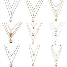 c28435eb75e1 Nuevo multicapa cristal Luna collares y colgantes para las mujeres encanto  Vintage collar de gargantilla de oro 2019