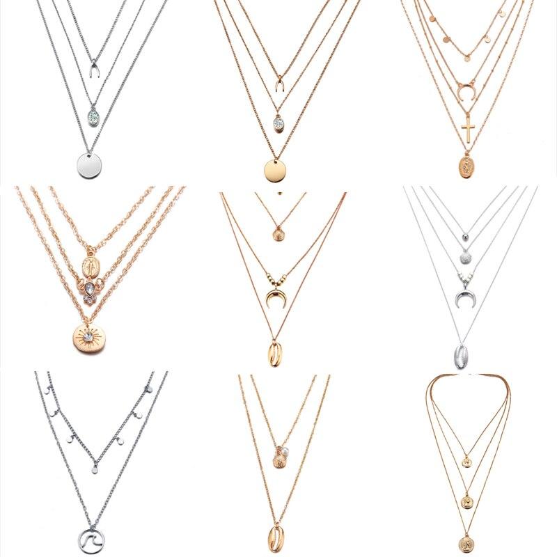 Nuevo multicapa cristal Luna collares y colgantes para las mujeres encanto Vintage collar de gargantilla de oro 2019, venta al por mayor de joyería