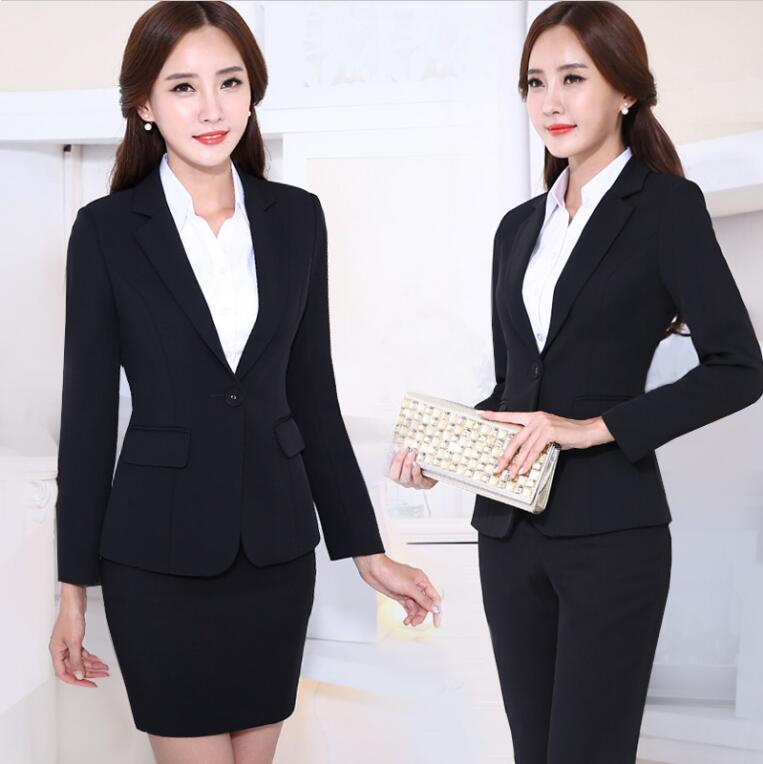 Uniforme de bureau conçoit des femmes jupe costume femmes d'affaires costumes formels noir