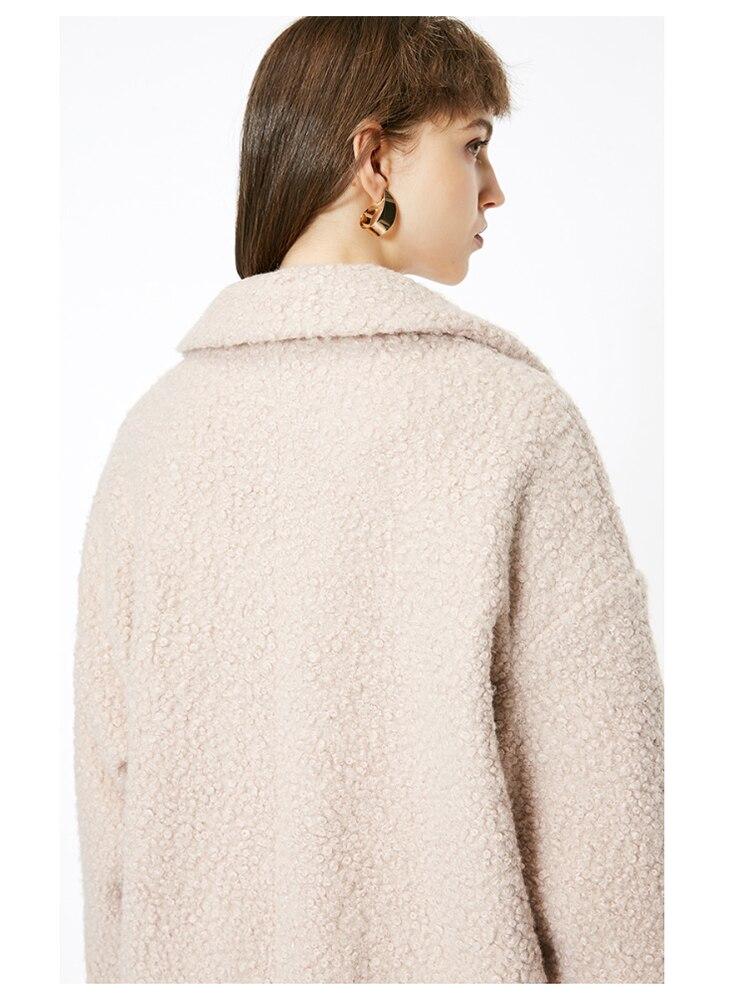 ONLY womens' winter new oatmeal Teddy hair long coat Loose version Rear slit hem design|118422505 10