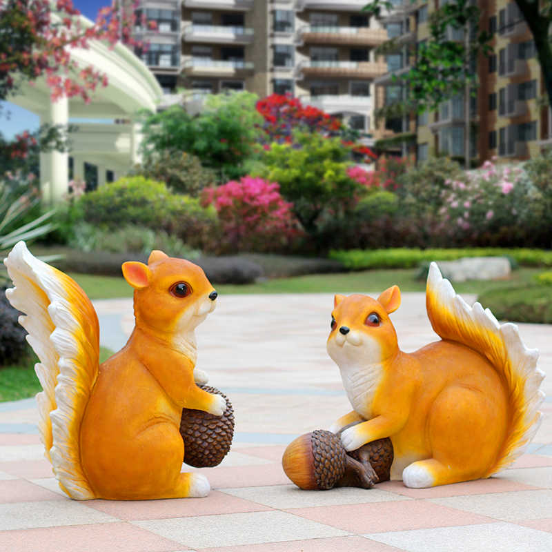 Simulation of small squirrel ornaments animal sculptures small outdoor garden garden courtyard landscape decoration ornaments(China)