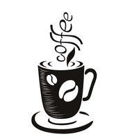 Novo Adesivo de Parede Xícara de Café Sala de estar Decoração de Casa Removível DIY Oco Out Decalque Da Parede Do Vinil