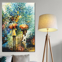 100% Hand Painted Artistic Vertical 60x90cm People with Umbrella soft Landscape Abstract Oil Painting on Linen Canvas Poster