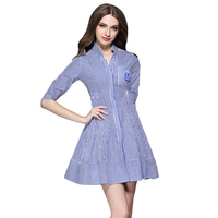 Plus Size Autumn Dress Women Stripes Mini Dresses Half Sleeve Female Patchwork Vestidos Mujer Stand Collar Robe W/Brooch BH518A
