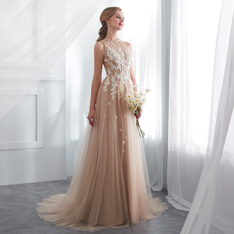 2019 New Tull Lace Appliques Prom Dresses A Line Sleeveless champagne Bridal Simple O Neck Evening Gown Formal Vestido De Festa
