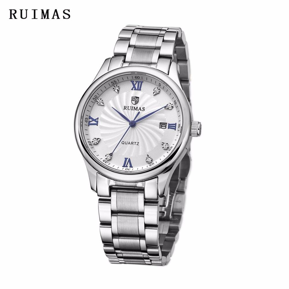 RUIMAS Luxury top Brand Men Quartz Watch Popular Stainless Business Watch Relogio Masculino Famous Clock Erkek Kol Saati ForGift
