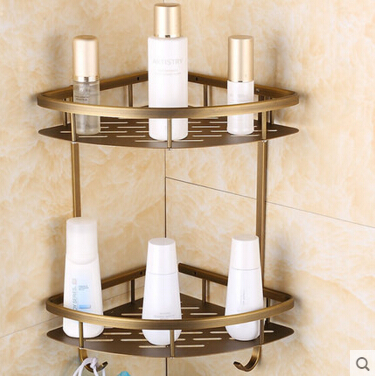 High Quality Aluminum double tiers bathroom Corner shelves with robe hook basket holder bathroom soap holder bath shampoo shelf top quality brass antique bronze double tiers bathroom shelves basket holder bathroom soap holder bathroom shampoo shelf