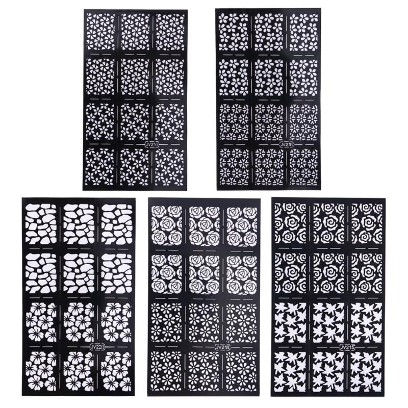 Fashion DIY Ultrathin Various Styles Hollow Nail Art Template Stencil Stickers Airbrush Decal Stamp Nail Art Sticker Decal 6 pcs reusable stamping tool diy nail art hollow template stickers stamp stencil
