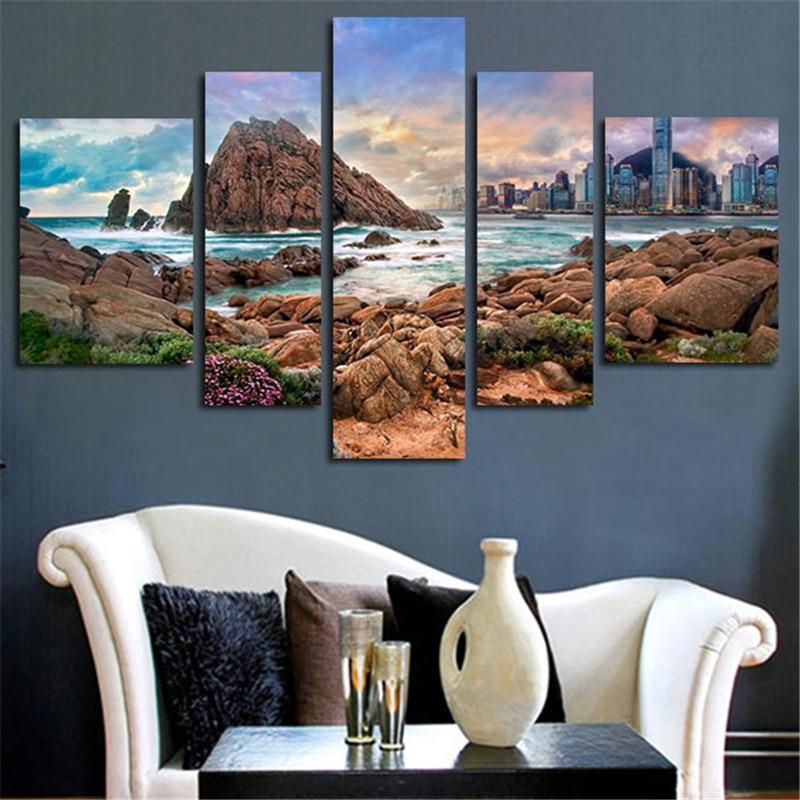 2017 5 panel dinding gambar seni modern lukisan gunung moudlar abstrak kanvas poster dicetak dekorasi rumah