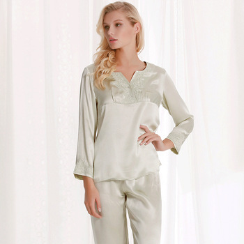 Silk Nightwear Summer New Long Sleeved V Collar 100% real Silk Suit Home Suit