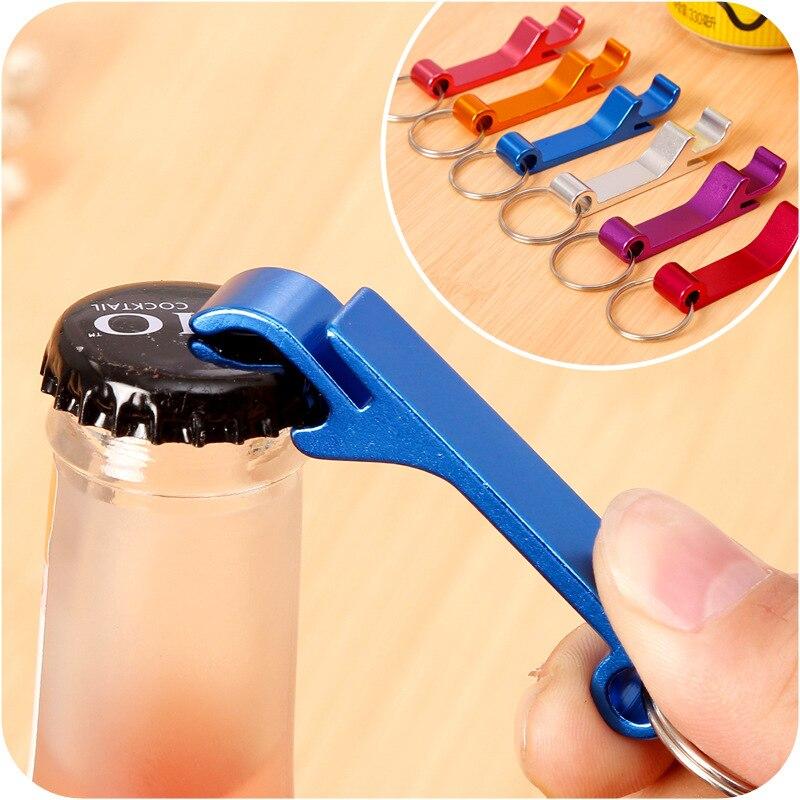 Beer Bottle Opener Keychain 4 In 1 Pocket Aluminum Can Opener Jar Openers 8 Colors Wedding Favor Gifts