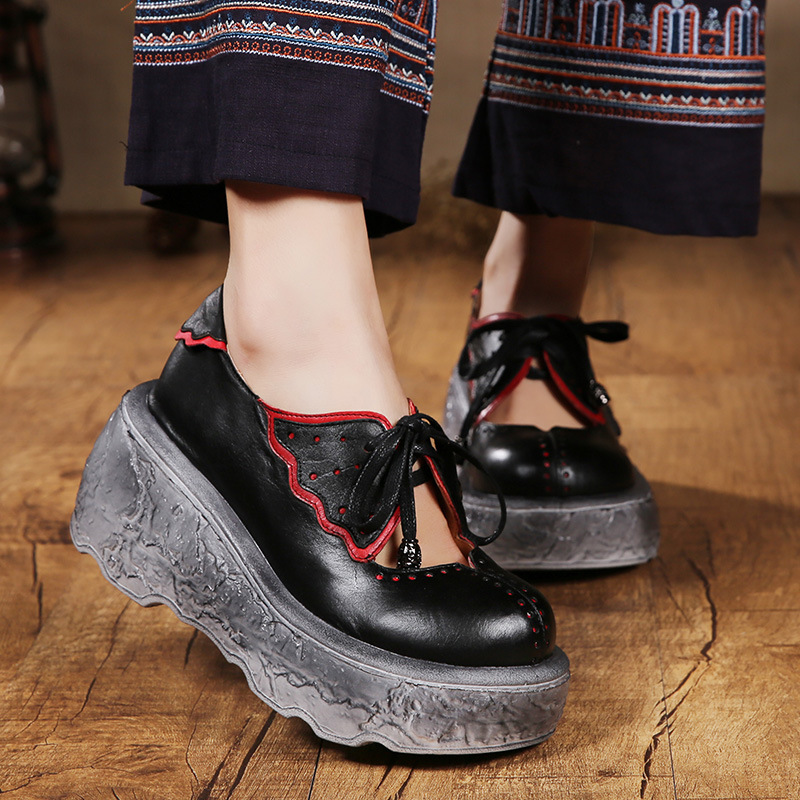 Hot selling Retro Thick Soles Muffin Handmade Women Pumps Round Toe Strap Shoes Personality Genuine Leather Shoes 333