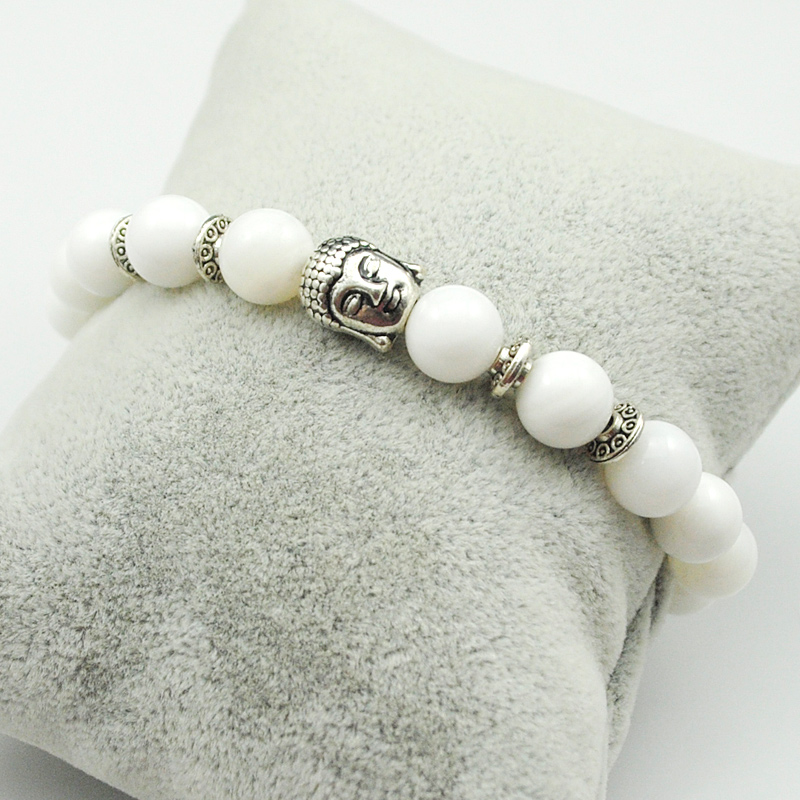 CHIMDOU Fashion Tiger Eye Natural Stone Round Bead Bracelet Men Buddha Charm Bracelet Women Jewelry 2016 AD012