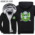 2017 Winter Anime Cool Rick Morty Print Men Black Thicken Hoodies Peace Among Worlds Warm Fleeces Funny Sweatshirt Thermal Coats
