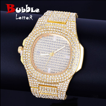 Hip hop Men's watch Big Dial Military Quartz Clock Luxury Rhinestone Business Waterproof wrist watches Relogio Masculino 24cm