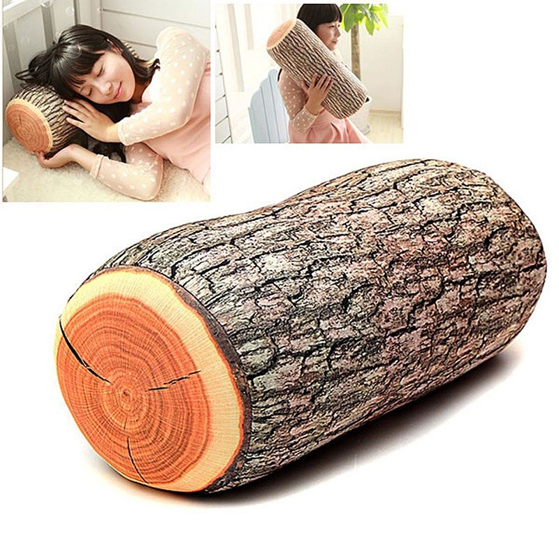 Creative Wood Log Shape Soft Car Seat Head Rest Body Neck Support Cushion Home Bed Back Cushion Soft Neck Throw Pillows