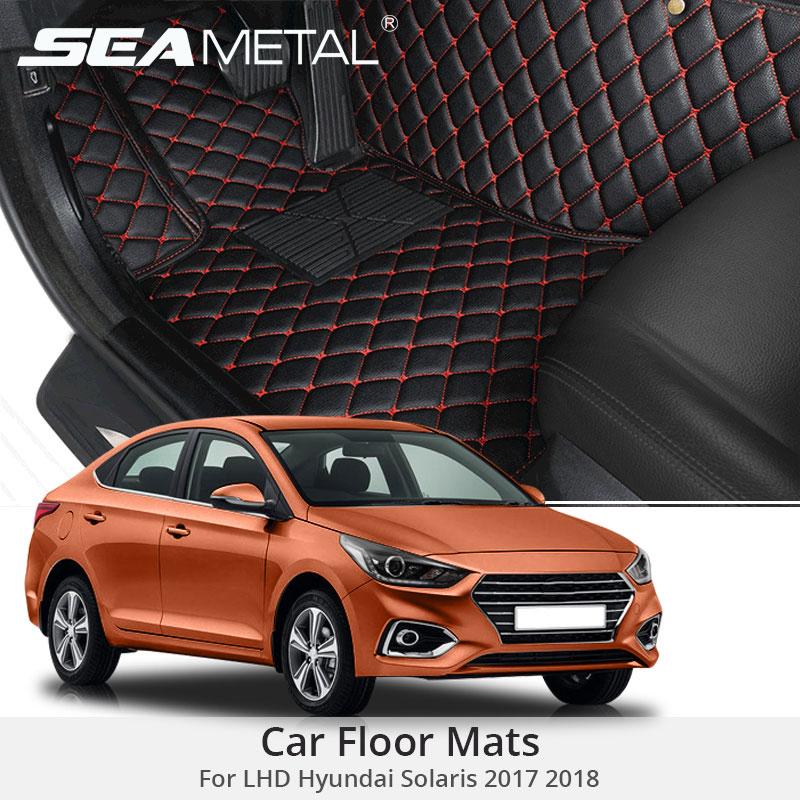 For LHD Hyundai Solaris 2018 2017 Car Floor Mats Custom Rugs Auto Interior Leather Foot Mat
