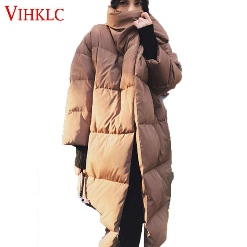 Stand Collar Winter Down Coatt Jacket Women Oversized Coat Loose Plus Size Warm Parka Long Solid Color Quilted Outwear  C328