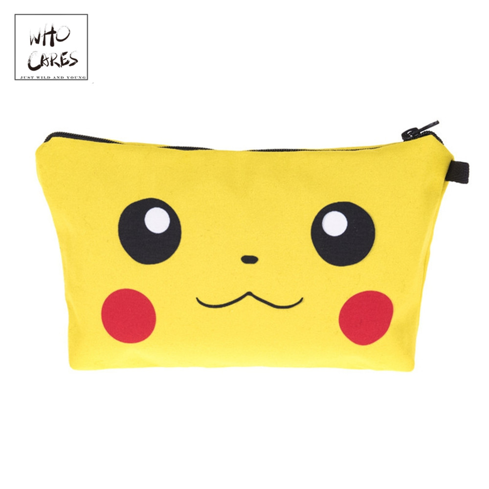 Who Cares Pikachu 3D Printing Fashion Cosmetic Organizer Bag Makeup Bags Ladies Pouch Women Cosmetic Bag