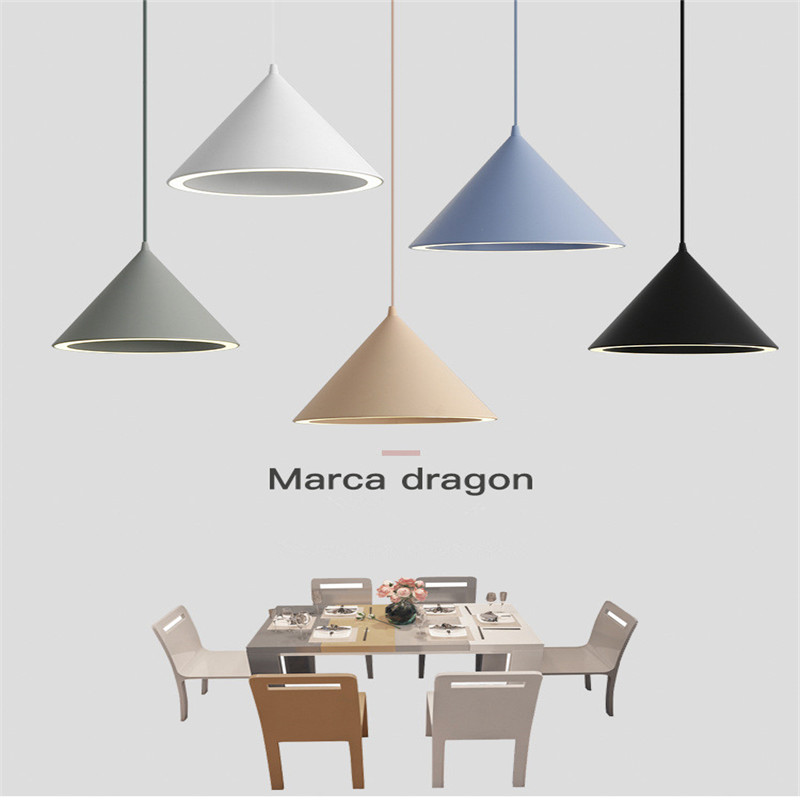 Nordic Creative Macaron Restaurant LED Chandelier Personality Aluminum Aura Color Lamp Simple coffee Shop Lamps Free Shipping-in Pendant Lights from Lights & Lighting