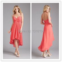 Coral High Low V Neck Spaghetti Straps Chiffon Maternity Bridesmaid Dress Wedding Party Dresses For Pregnant Women With Wrap