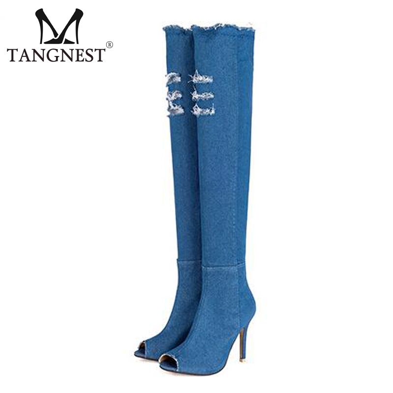 Tangnest Vintage Denim Over-the-knee Boots For Women Sexy Thin High Heels Shoes Peep Toe Jeans Boots Woman Size 35~41 XWX5909  new arrival high quality over the knee women boots sexy pointed toe shoes stiletto high heels blue denim jeans women boots