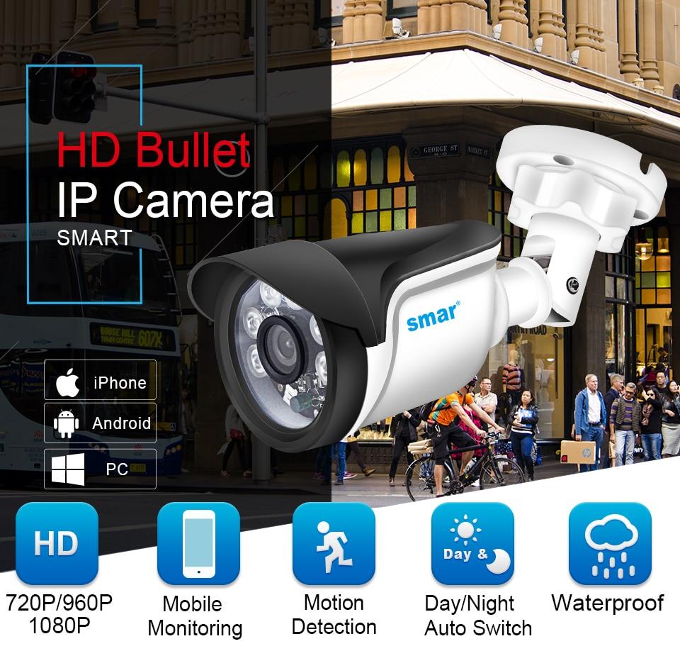 Smar H.264 Bullet IP Camera 720P 960P 1080P Security Camera OutdoorIndoor 24 hours Video Surveillance Onvif POE 48V Optional (1)