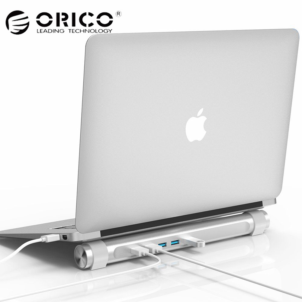 ORICO USB 3.0 HUB with Laptop Holder Function ABS Round 4 Ports HUB for Apple Laptop MAC Perfectly Silver USB Splitter orico usb hub 7 ports 5 gbps usb3 0 hub splitter support bc1 2 charging with 12v dc charging port