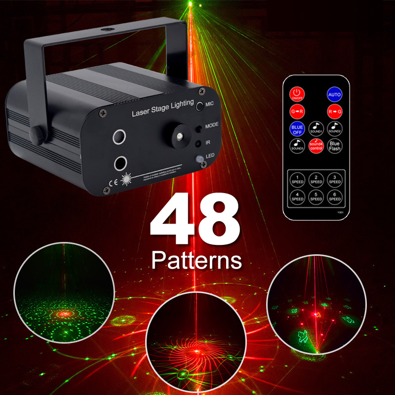 Apextech DJ Laser LED RGB 48 Patterns Stage Projector Light IR Remote Automatic Sound Activated Holiday Ambient lighting Lamp