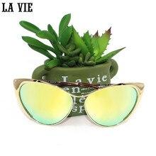 LA VIE Cat Eye Sunglasses Women 2017 Hot Cat Eye Sunglasses Female Brand Designer Gold Silver Shadow Oculos Gafas Tom For
