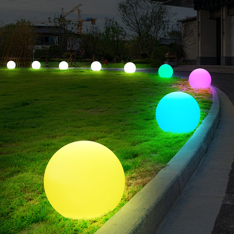 Solar Energy D30CM RGB LED Ball Photosensitive Switch Outdoor Garden Courtyard IP67 Waterproof Colorful Light Decorative Spheres