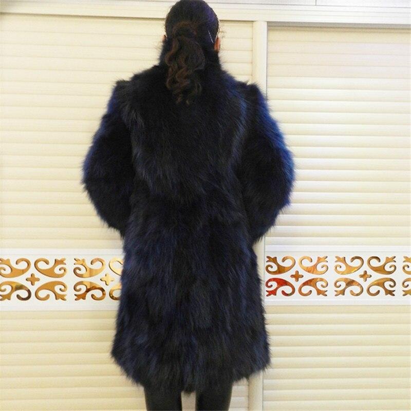 Hakiki Deri Ceket Rakun Ceket Uzun Ceket Uzun Kollu Kalın sıcak - Bayan Giyimi - Fotoğraf 3