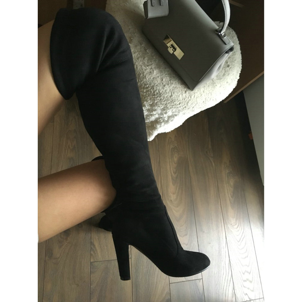 Women Over the Knee Boots High Heels Faux Suede Sexy Party Slim Thigh High Boots Stretch Shoes with Lace up Black Wine Red Gray