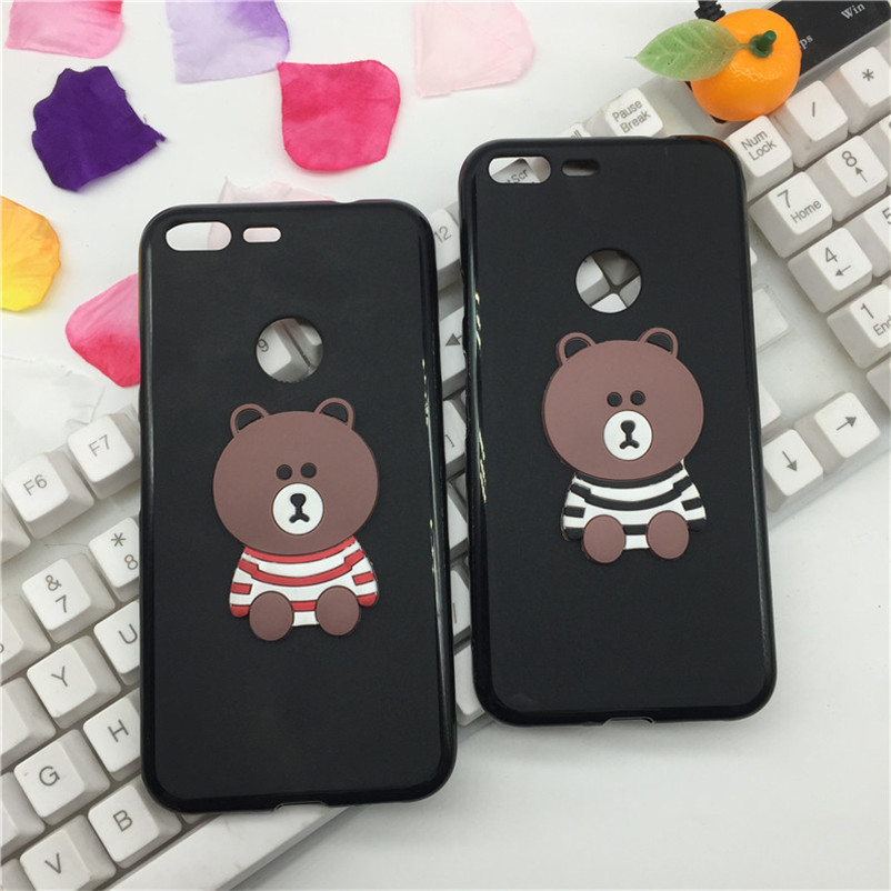 Luxury Phone Case For Google Pixel Silicone Soft Pop Protective For Google Pixel Back Cover Cases Shell Brown Bear