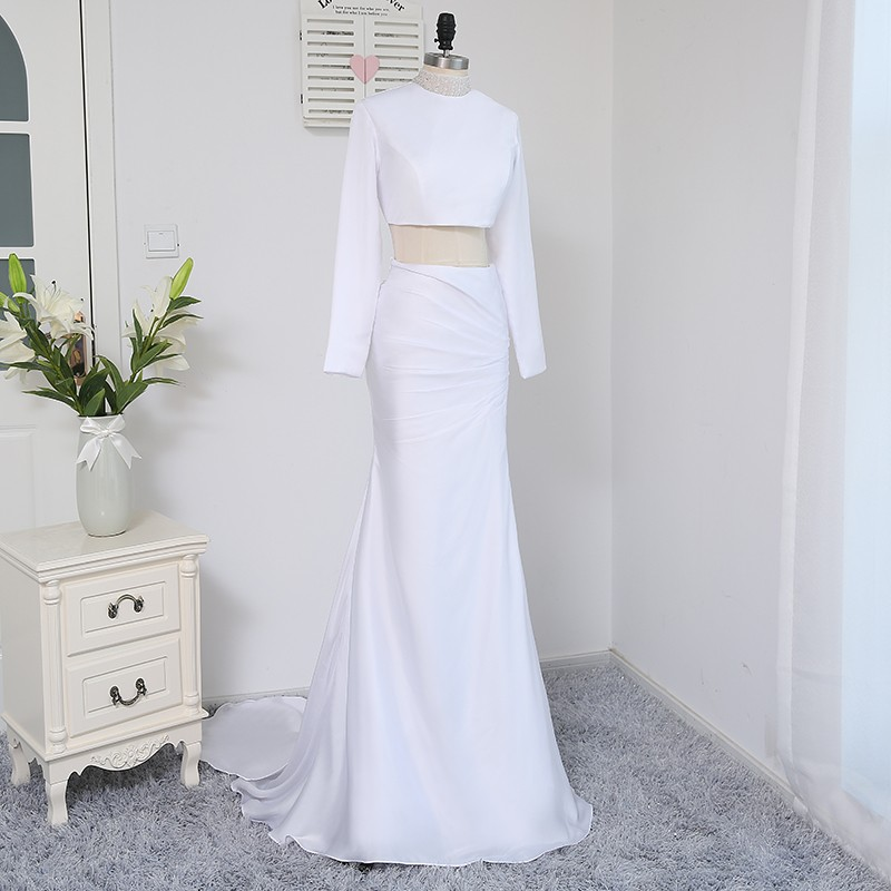 2018 Formal Celebrity Dresses Mermaid High Collar Long Sleeves Two Pieces White Evening Dress Famous Red Carpet Dresses