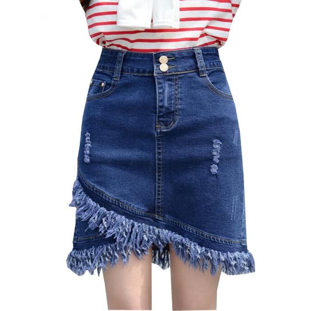 c731c1333a 7XL Large Skirt Summer Women's Denim Skirts Slim A-line Ladies Denim Skirt  Tassel Knee Length Jeans Skirt Faldas Mujer Plus Size