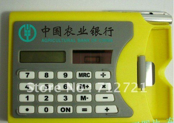 solar gift mini calculator with  pen and name card holder