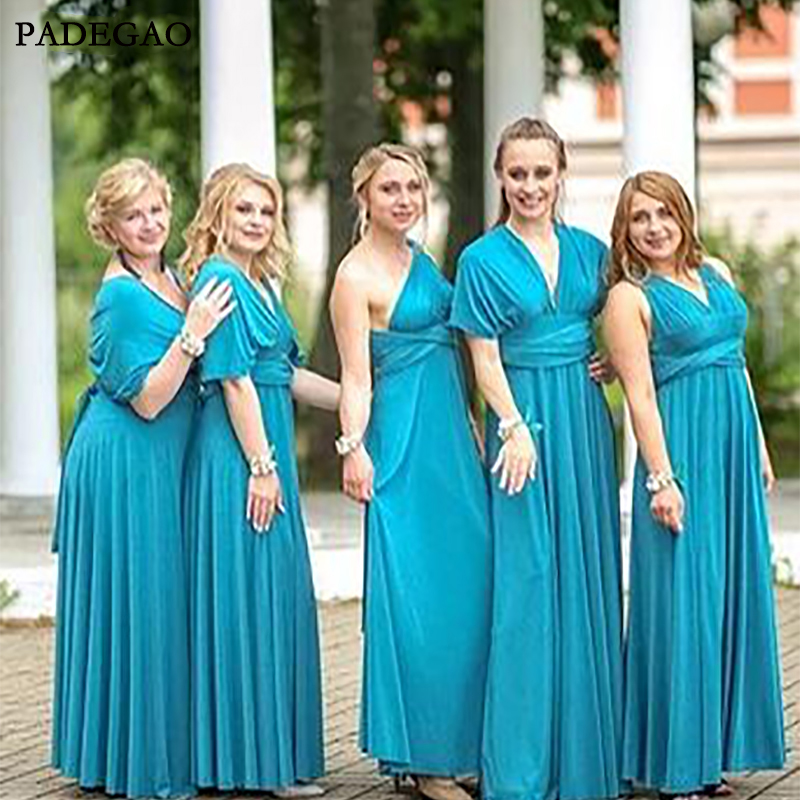 Simple A-Line Long   Bridesmaids     Dresses   V-Neck Sleeveless Chiffon Mismatched   Bridesmaids     Dresses   Prom Custom Made