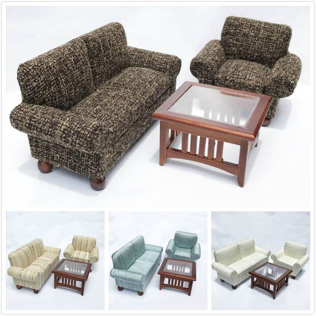 Cool Us 29 44 39 Off 1 12 Dollhouse Miniature Sofa For Dolls Furniture Toy Wooden Living Room Sofa Table Set Kids Pretend Play Toys For Girls Ts In Dailytribune Chair Design For Home Dailytribuneorg