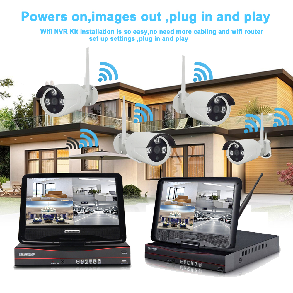 8ch Home Security Wireless NVR Kit Wifi CCTV System 720P 1.0MP P2P Indoor Outdoor IP Camera Surveillance Set Motion Detect