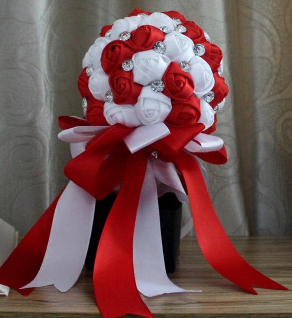 Red Rhinestone Artificial Bridal Bouquets Bridesmaid Wedding Flower Accessoires De Mariage Blanc