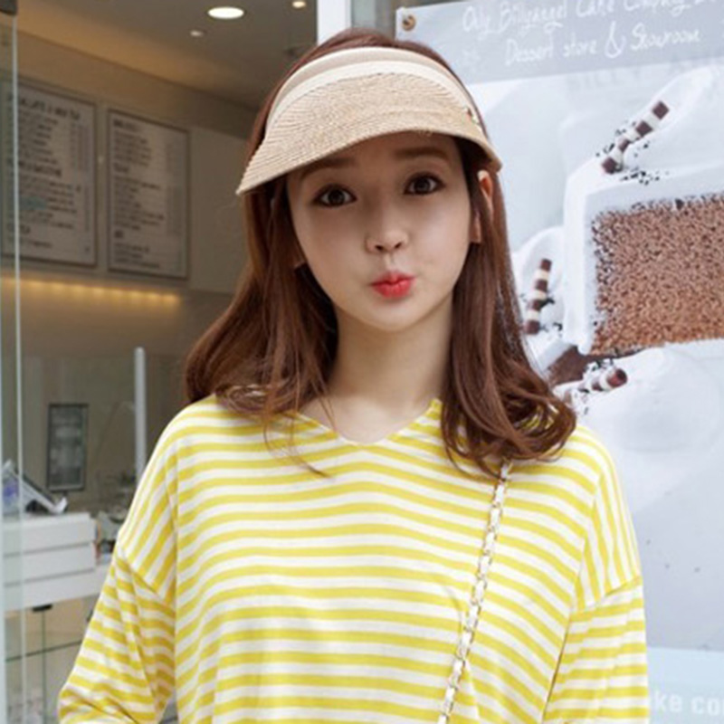 Women Casual Summer Sun Empty Top Hat Solid Straw Sun Visor Hats Unisex Sombrero Cap Wide Brim Caps Female Beach Hat