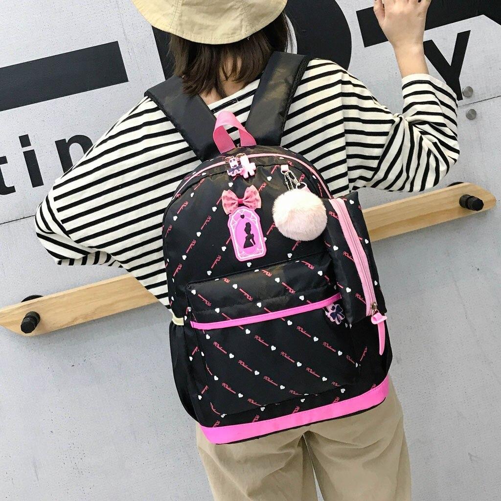 Women Bow Canvas Three-piece School Bag 44