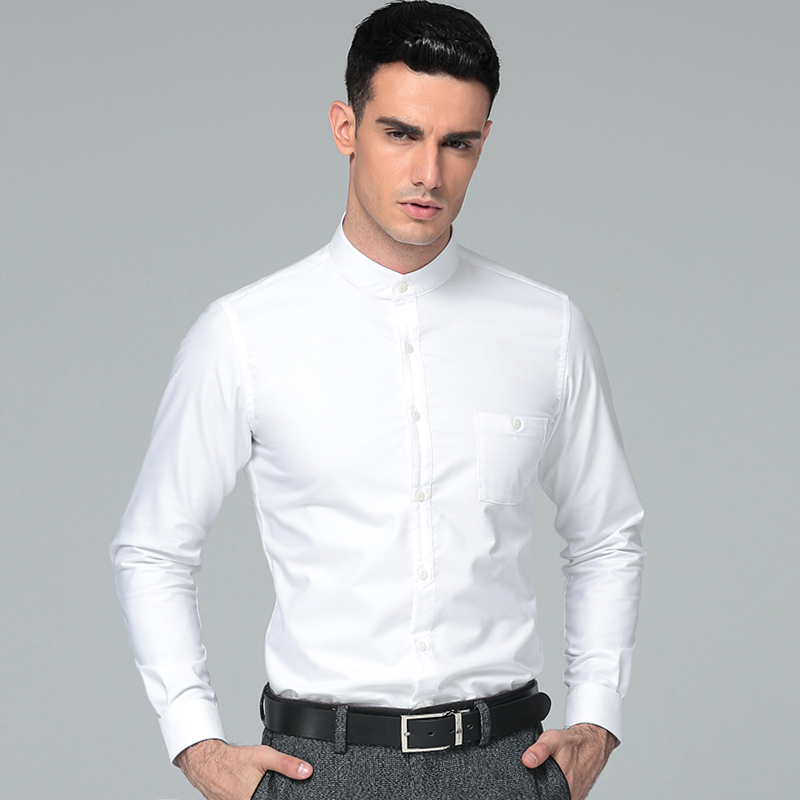 High Quality 2017 Nye Mænds Regular Fit Shirt 100% Cotton Men Dress Shirts Mænds Mandarin Collar Business Shirts Tykning