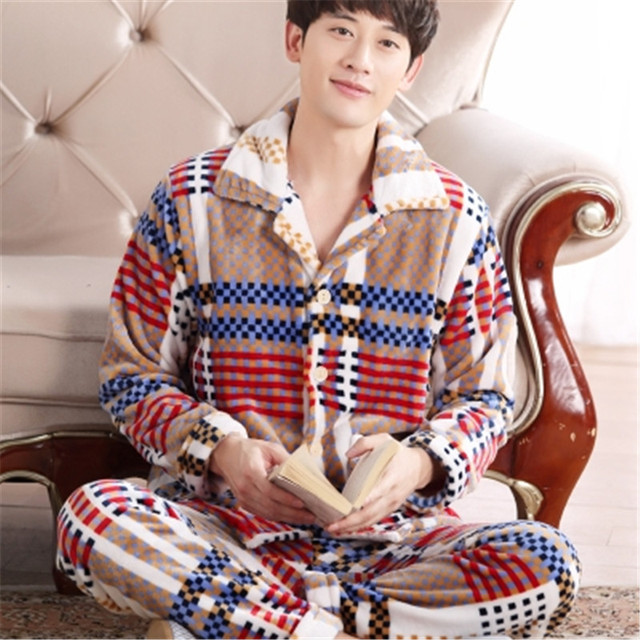Autumn Winter men Coral cashmere Pajamas suit Thickening Solid color Large size Flannel Luxury and noble Home clothing