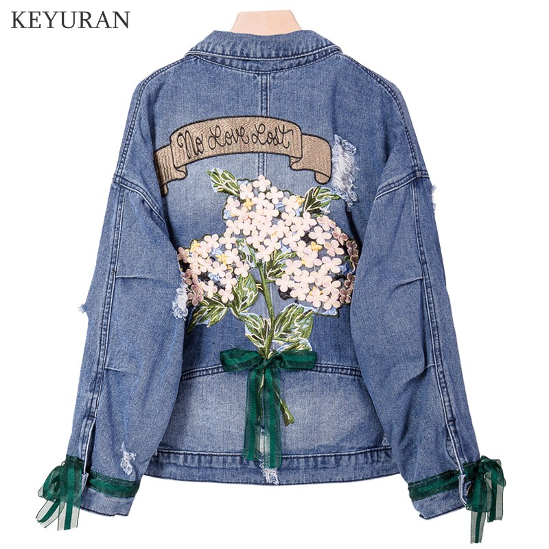 Oversize 5XL Embroidery Denim Jacket Women Spring European Station Loose Casual Short Jeans Coat Female Harajuku